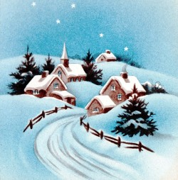 Snow Scene, Village in Snow, Country Snow Scene, Little Village church