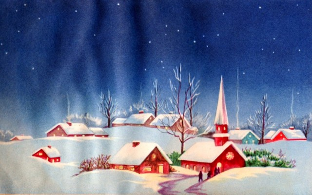 Village in Snow, Red buildings in Snow, Church in Snow, Winter time, Scrapbooks