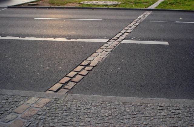 Berlin Wall Marker, 25 Years Ago, Berlin, Germany, Tumbling Wall