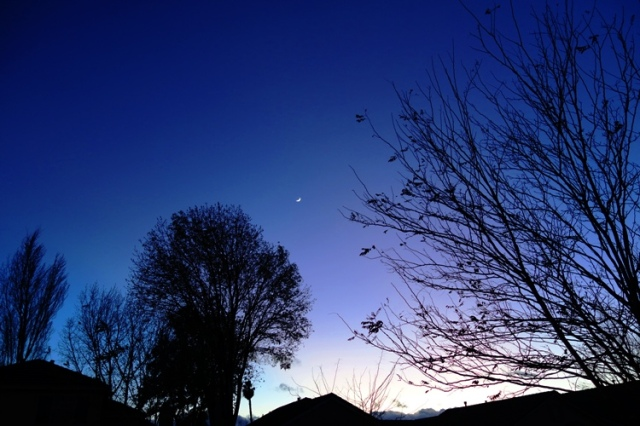Christmas Eve Sunset, Dark Sky, Moon Sliver