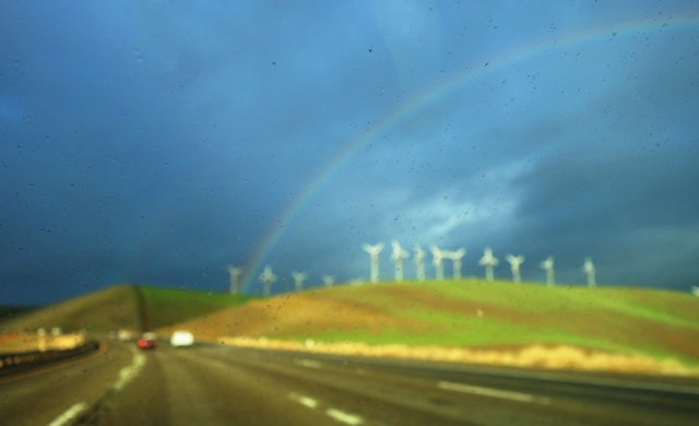 Raindrops on Windshield, impressionist, rainbow, windmills, Altamont