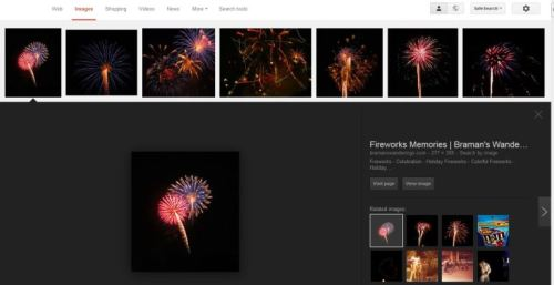 Fireworks, Google Image Search, Image Preview