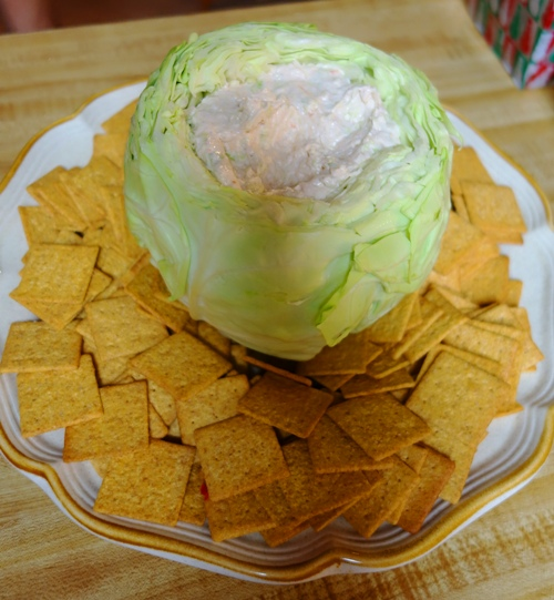 Cool Party Food, cabbage bowl, Unique Serving Bowl, Crackers, Dip