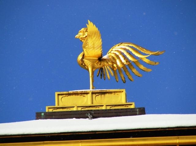 Kinkaku-ji, Golden Pavilion, Phoenix, Roof Ornament, Kyoto, Japan, Snowy Day