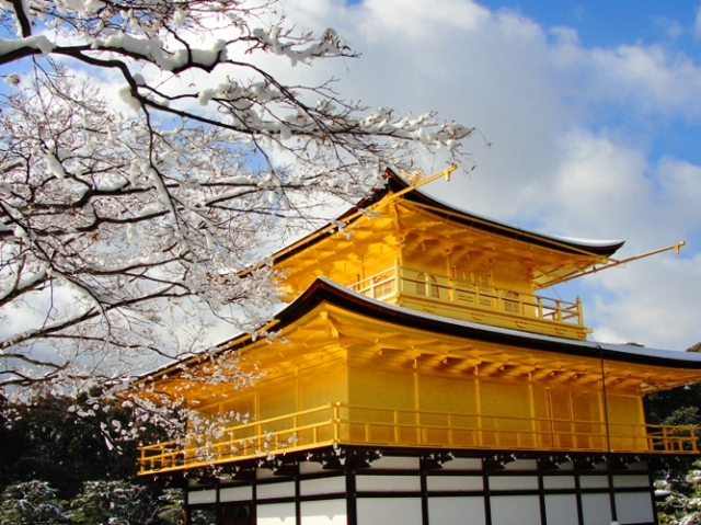 Golden Pavilion, Kinkaku-ji, Kyoto, Japan, Snowy Day