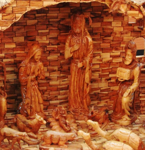 Olive Wood Nativity Set, Kado Store, Bethlehem, Mary, Joseph, Jesus, Stable, Manger