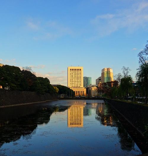 Tokyo Reflections, Edo Castle Moat, Skyscraper Reflection