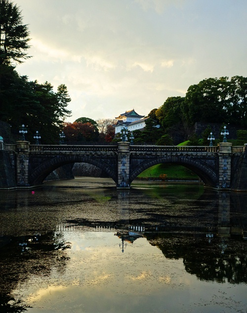 Edo Castle, Stone Bridge, Seimon Ishibashi, Reflections, Moat