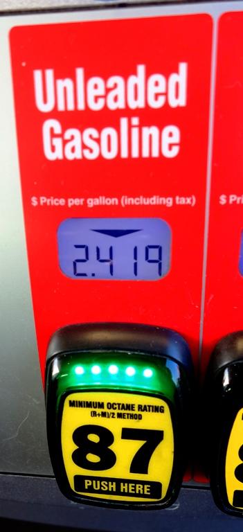 Cheaper Gas Prices, 2.419 Per Gallon, Unleaded Gas, Cheap Gas