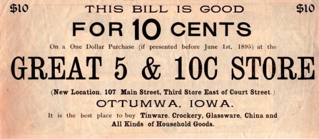 Ottumwa Iowa, Coupon, 1895 Coupon, Great 5 & 10 Cent Store