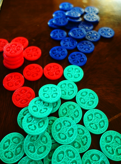 Sequence Chips, Red Poker chips, Blue Poker Chips, Green Poker Chips