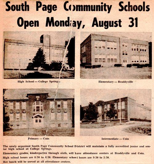 South Page Community Schools, College Springs Iowa, Coin Iowa, Braddyville Iowa