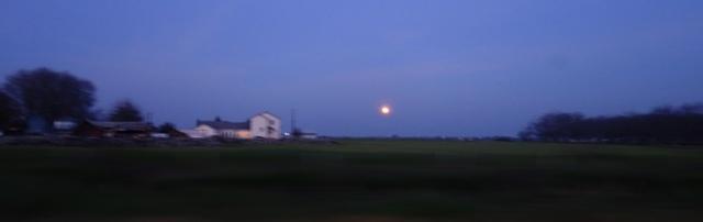 Moon Rising, Sundown, Farm Buildings, Full Moon