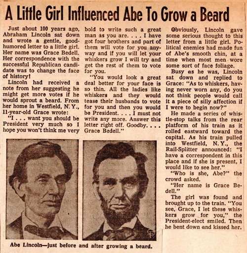Lincoln's Beard, Grace Bedell, Westfield, New York, Lincoln's Inauguration