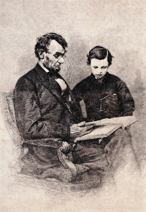 President Lincoln reading to Tad, Tad Lincoln, Reading Bible, President Lincoln