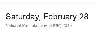 IHOP Pancake Day, 2015, Pancakes, National Pancake Day