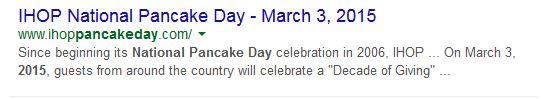 March 3, 2015, IHOP Pancake Day, International Pancake Day, IHOP