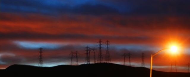 California Sunset, Patterson Hills, Ingram Creek, power lines at sunset