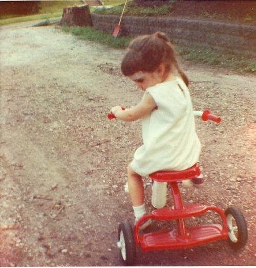 Girl on Trike, Sister's Trike, Tricycle, Little red trike