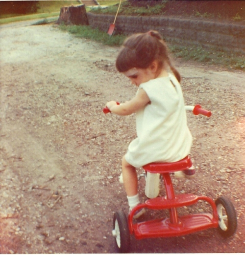 Girl on Trike, Sister's Trike, Tricycle, Little red trike