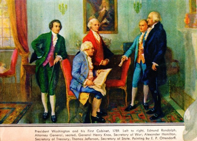 First Cabinet, Washington's Birthday, George Washington, Edmund Randolph, Henry Knox, Thomas Jefferson, Alexander Hamilton