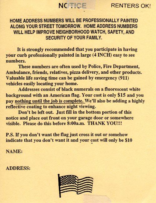 Number Painting Notice, Solicitation, Handbill, Notice