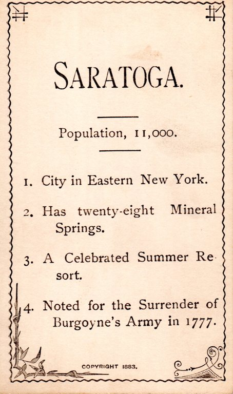 Saratoga, New York, Flash Card, Battle of Saratoga, Mineral Springs