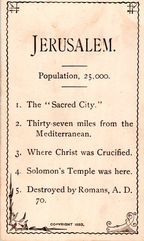 Jerusalem, Flash Card, Geography Flash Card, Sacred City