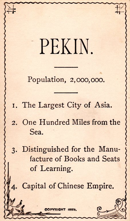 Peking China, Pekin, Flash Card, Geography, Education