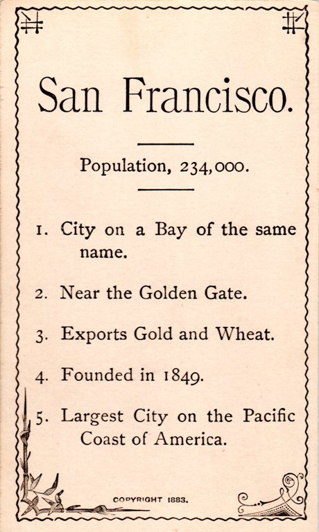 San Francisco, 1883, City by the Bay, Flash Cards