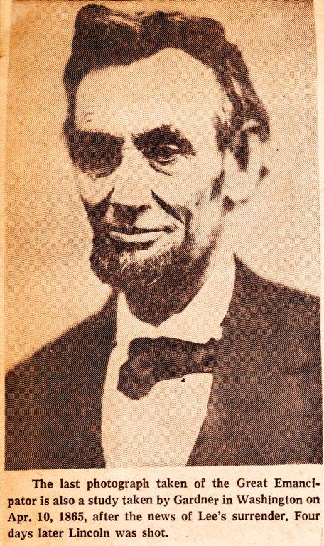 Alexander Gardner, President Lincoln, Last Portrait?, Lincoln Assassination