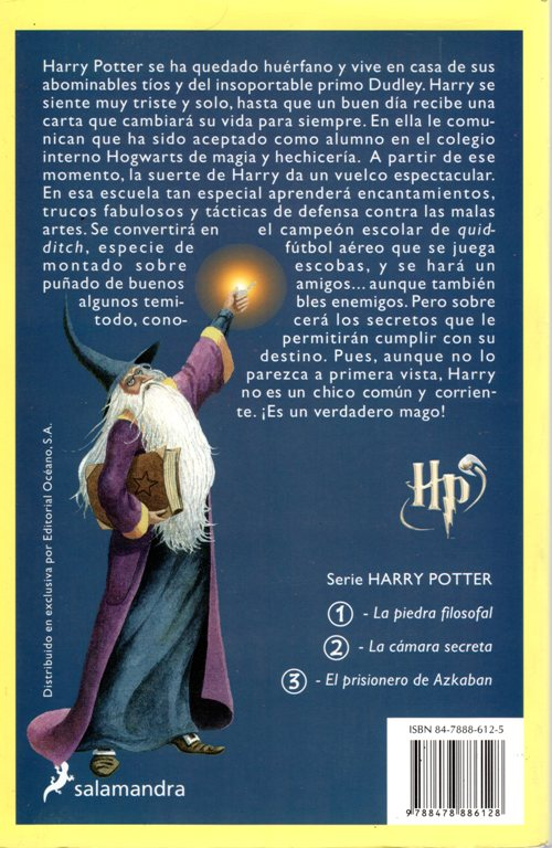 Harry Potter Back Cover, Spanish Edition, La Piedra filosofal, Harry Potter