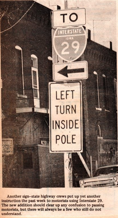 Hamburg Iowa, Main Street, Flag Pole, I-29, Left Turn Inside Pole