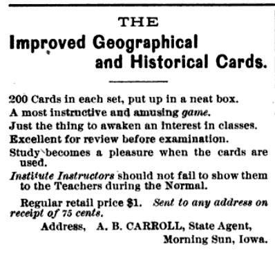 Improved Geographical Cards, J.W. Freeman, 1883, Flash Cards, Education