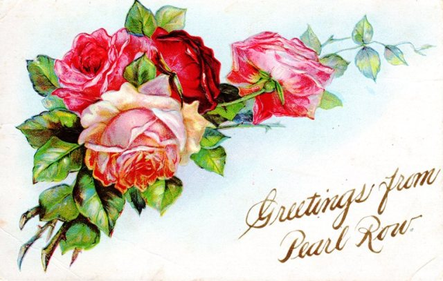 Vintage Post Card, Rose Post Card, Personalized Post Card, Pearl Row, greetings