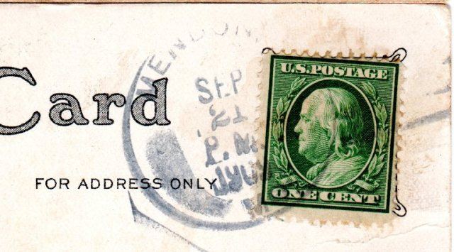 Post Card Stamp, Benjamin Franklin, Mendon, Missouri, 1909