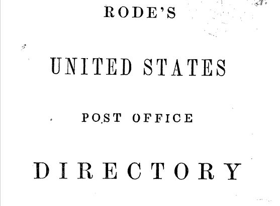Post Office Directory, Post Office, Postmaster, Rome, Wisconsin