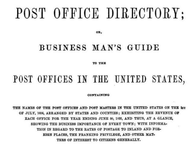 Post Office Directory, Business Man's Guide, 1856