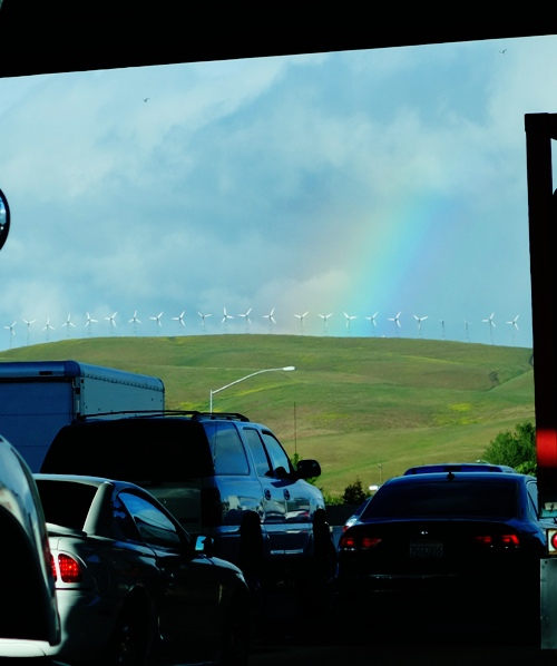 Rainbow, Rain, California Spring, Traffic, Commute