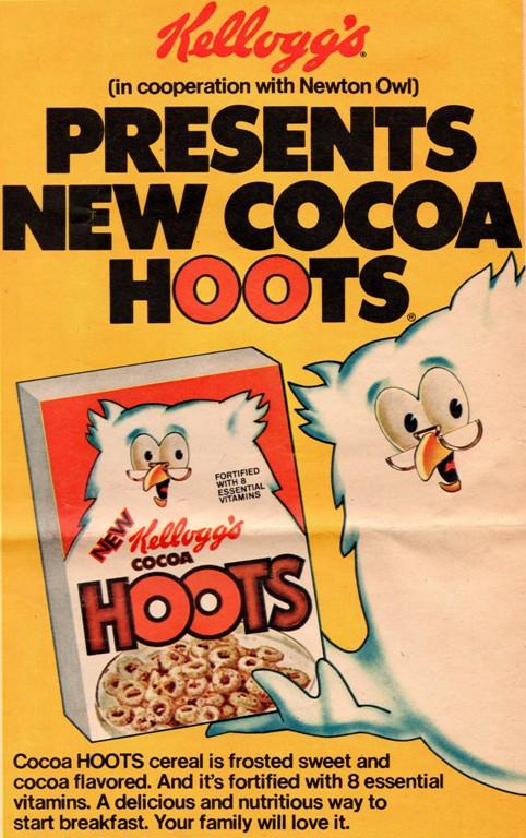 Kellogg's Cocoa Hoots, Breakfast Cereal, Newton Owl