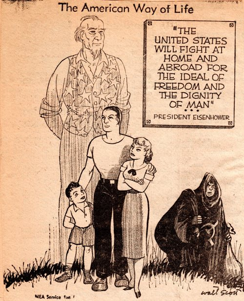 Armed Services Day, 1958 Editorial Cartoon, Eisenhower