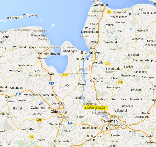 Bremen Begesack, Germany, Google Maps