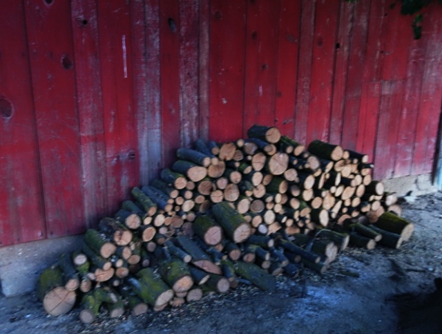 Woodpile at dusk, Red Shed, Dusk, Woodpile