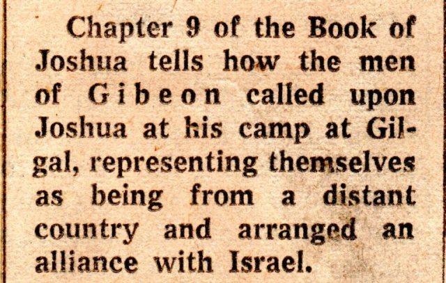 Gibeon, Day Stood Still, Gilgal, Joshua