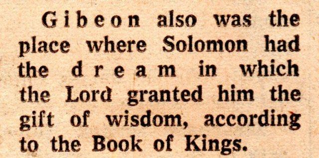 Solomon, Heights of Gibeon, Nebi-Samwil, Gibeon