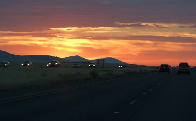 Mount Diablo, I-5 Sunset, Colorful Sunset