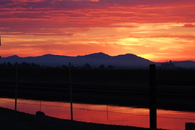 California Aqueduct, California Drought, Water, Sunset, Mount Diablo