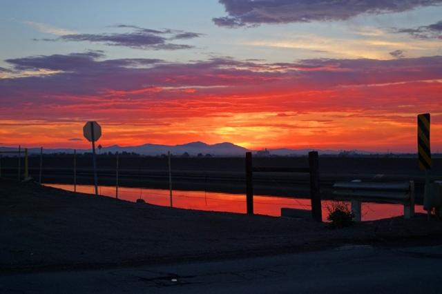 Sunset, Reflected Sunset, California Sunset, California Aqueduct