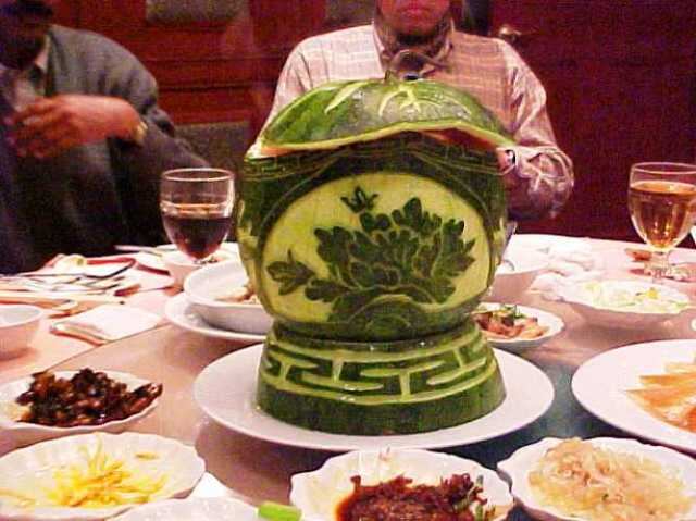 Watermelon Art, China, Shanghai, Food Art, Chinese Food