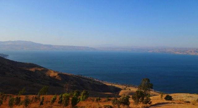 Sea of Galilee, Overhead view of Sea of Galilee, Poryia Youth Hostel, Galilee